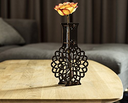 (Dark Brown Wooden Vase, One Flower Vase, Table Decor Gift, Rustic Decor, Wooden Wife Gift, Wood Anniversary, Marriage Anniversary, Floral Vase)