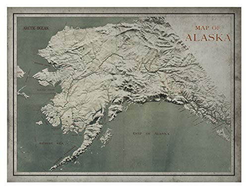 Archive Print Co. Alaska Map Circa Early 20th Century, Framed Options Available (Unframed 36
