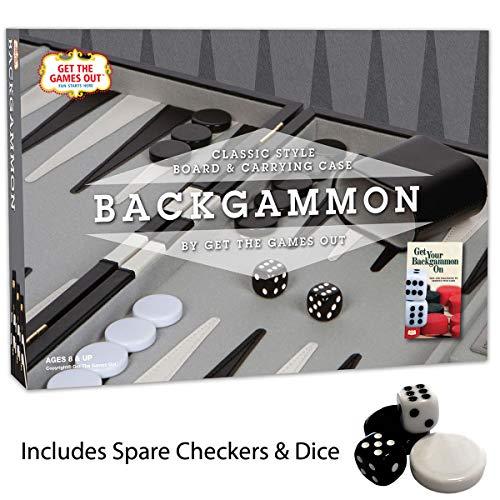 Backgammon Set Classic 14.75 Inch Backgammon Sets for Adults Board Black