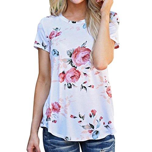 Kshion Women Polyester Short Sleeve Flower Printed Blouse Casual Tops T Shirt