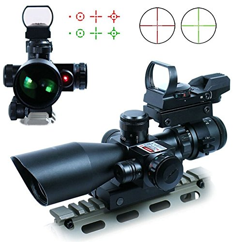 Lukher Hunting 3 in 1 2.5-10x40 Rifle Scope Tactical Red Laser Rail Mount + Tactical 4 Reticle R&G Dot Open Reflex Sight w/ Weaver-picatinny Rail Mount for 11 Mm Rails+scope Barrel Mount