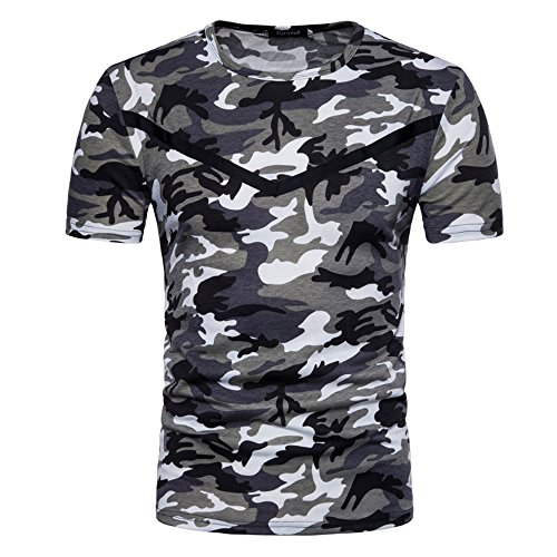CantonWalker Mens Comfort-Soft Fitness Stretchy Crew-Neck army green Camo sleeve T-Shirt 8002