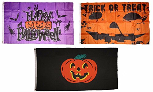 ALBATROS 3 ft x 5 ft Happy Halloween 3 Pack Flag Set #101 Combo Banner Grommets for Home and Parades, Official Party, All Weather Indoors Outdoors