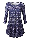 BaiShengGT Ladies Boat Neck Floral Top,Floral Printed Summer Long Sleeve Loose Fit Flowy Pleated Hem T-Shirt Tunic Blouse Tops L Blue Floral 2