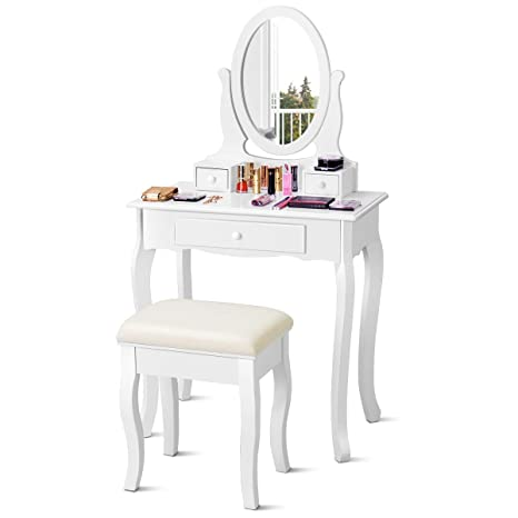 Giantex Vanity Set with Mirror and Padded Stool, Multi-Functional Dual Use  Desk Vanity, Girls Women Gift Wood Style Makeup Dressing Table Bench Set,  ...