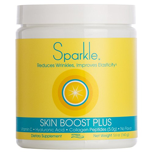 Sparkle Skin Boost Plus (No Flavor) Verisol Collagen Peptides Protein Powder Vitamin C Supplement Drink, 5.6oz (Best Collagen Drink For Skin)