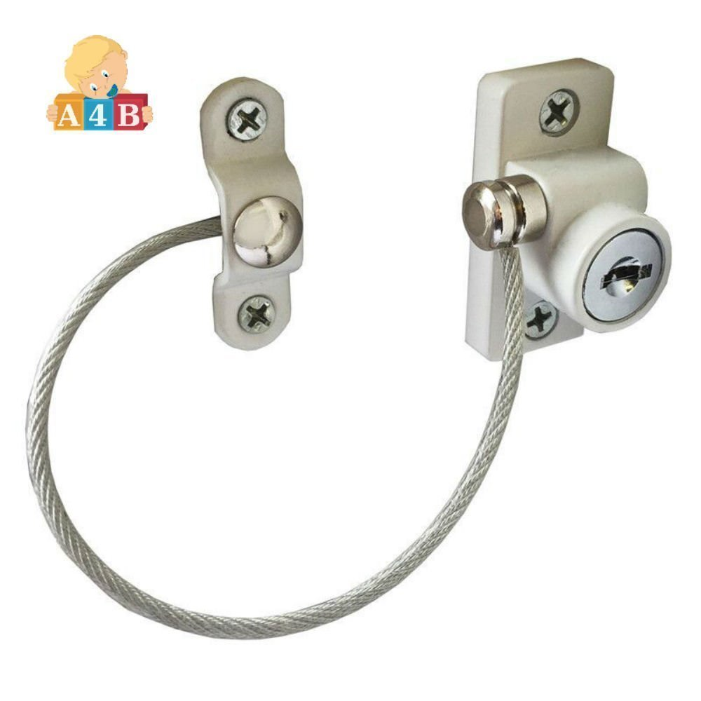2 pcs Safety 1st White Baby Safety Lock with Key Window Door Cable Ventilator - Locking Keyed Opening Restrictor for Baby Protection