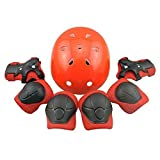 Kids Sports Knees Elbows Wrists Head Support Protection Helmet Set for Unisex Children Toddler Extreme Sports Youth Roller Bicycle BMX Bike Skateboard Hoverboard Protector Guards Pads -7 Pcs (Red)