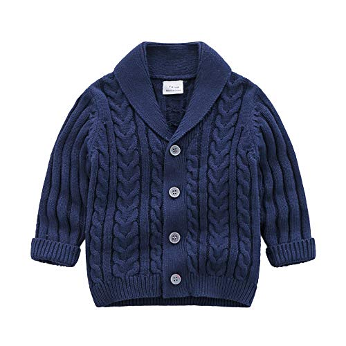 Infant Baby Boys Cardigan Crochet Sweater V-Neck,Toddler Knit Button up Knitted Pattern Pullover Sweatshirt Spring,Blue,18-24M (Crochet For Infant)
