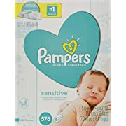 Pampers Sensitive Water Baby Wipes 9X Refill Packs, 576 Count (Pack May Vary)
