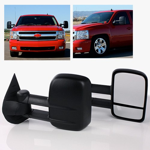 ModifyStreet Manual Flip-up Extendable Side Towing Mirrors for 2007-2013 Chevy Silverado/GMC Sierra - Extendable Towing Mirrors