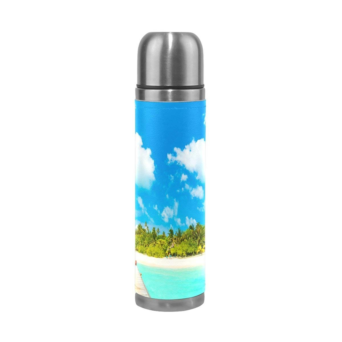 Thermos 17.5 oz Kids Adults Beautiful Ocean Tropical Hotel Palm Custom Water Bottle Double Wall Vacuum Insulated Stainless Steel Canteen with PU Leather