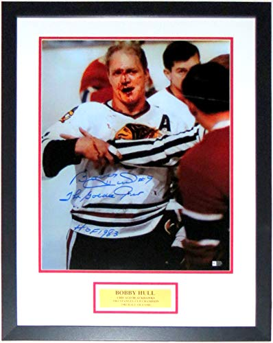 Bobby Hull Signed Bloody 16x20 Photo and Golden Jet and HOF 1983 Inscription - Fanatics COA Authenticated - Custom Framed & Plate