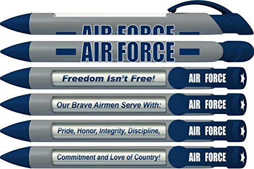 Greeting Pen Air Force Military Patriotic Bravery Rotating Message 6 Pen Set 36567