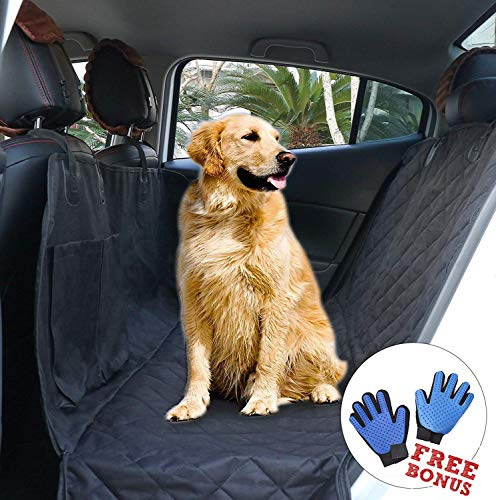 Canines With A Cause Heavy Duty Car Seat Cover for Dogs - Durable Hammock Fits Sedans, SUVs, and Trucks - Waterproof Dog Travel Accessory - Bench Protector Covers Seat - Bonus Free Dog Grooming Glove
