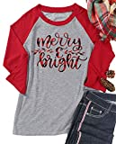 Merry and Bright Leaf Print T Shirt for Women Christmas Raglan 3/4 Sleeve O Neck Cute Tshirt TopLetter Leaf Print,Splicing Long Sleeve Shirt Tees, Funny Christmas TopsPerfect for Christmas,Casual ,Daily Life,Match With Jeans,Leggings,High Heels,Boots...