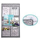 Multi-Pocket Over the Door/Wall/Shelf Hanging Storage Bag Caddy Organizer Tidy Rack Closet System Holder with Transparent Window for Month Calender Memo Board Magazine CD Stationery Organization