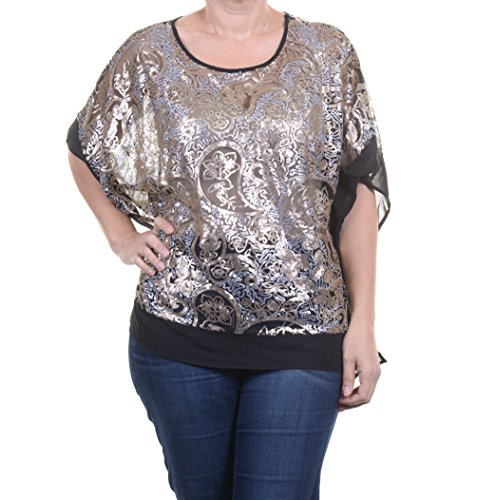 Ellen Tracy Top, Batwing-sleeve Sequin Pon Black Combo Size M