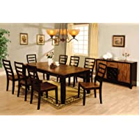 New 9 Pieces San Isabel I Acacia & Espresso Wood Dining Table Set Chairs with 2 Pedestals