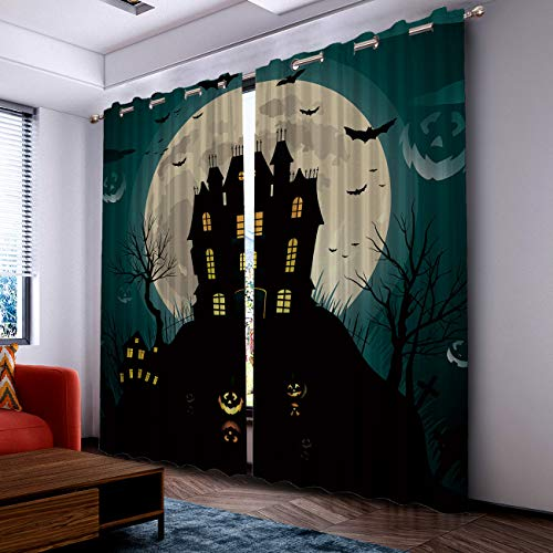 Prime Leader Curtains for Living Room- Darkening Thermal Insulated Window Treatment Curtains, with Grommet Home Decor Halloween Dark Castle Bats and Pumpkin (2 Panels, 52 x 72 Inch Each Panel) ()