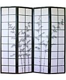 Paravent japonais en bois noir dessin bambou de 4 pans -PEGANE-