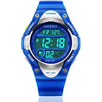 Kids Sports Digital Watch for Boys Girls, Waterproof Children Wristwatch With LED Alarm Stopwatch Electronic Outdoor Watches - Blue