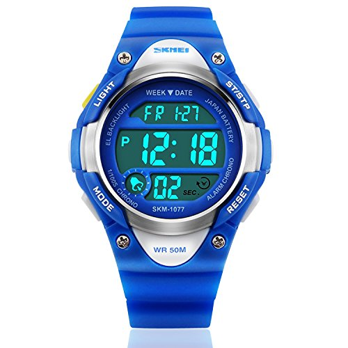 Boys Sport Digital Watch, Kids Outdoor Waterproof Electronic Watches With LED Alarm Stopwatch – Blue