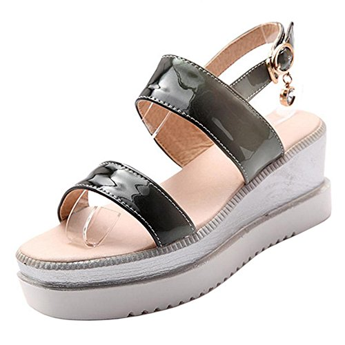 TAOFFEN Women Thick Sole Sandals Platform Black WneACNFil