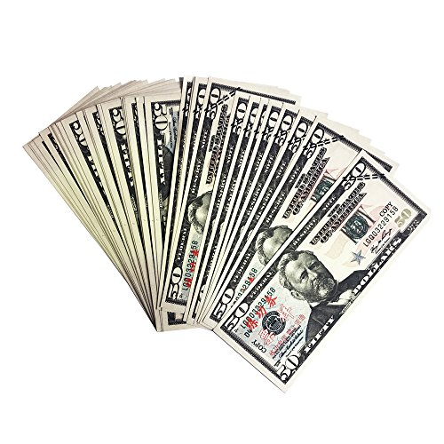 Yooqn Play Money  5 000 Full Print New Style Money Copy Of  50 Dollar Bills Stack  In Authentic Bank Strap