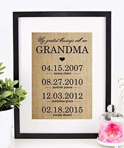Personalized Gifts for Grandma, Mother's Day Gift for Grandmother, Birthday: My Greatest Blessings Call Me GRANDMA, Burlap Print -