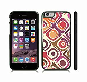 Case Cover For Apple Iphone 6 Plus 5.5 Inch with Colorful Pattern, Purple, Orange, Rose, Green on White Background Snap-on Cover, Hard Carrying Case (Black)