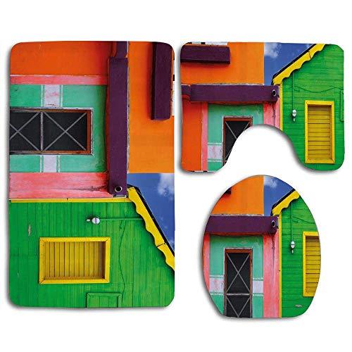 - YGUII Caribbean Houses in Vibrant Color Scheme in Isla Mujeres Mexico Latin America Photo Bath Mat Bathroom Carpet Rug Non-Slip 3 Piece Toilet Mat Sets