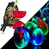Red Cyclone Quartz 2 Glow Diabolo Set w/ Metal Diablo Sticks, LED Kit & Bag