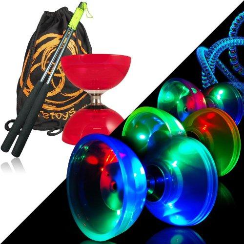 Diabolo Cyclone Quartz Juggle Dream (rot) - Diabolo Freiläufer Kombi-Set mit Leuchten-Kits, Alu-Handstäbe und Tasche