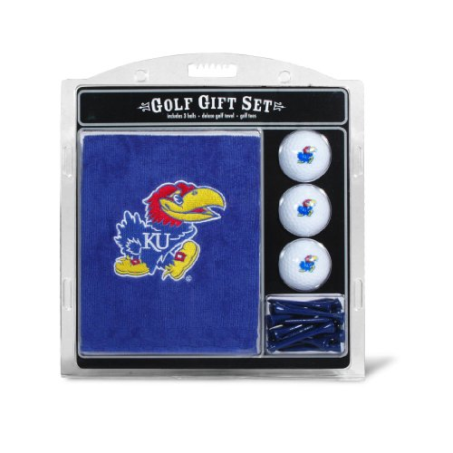 NCAA Kansas Jayhawks Embroidered Golf Towel, 3 Golf Ball, and Golf Tee (Kansas Jayhawks Embroidered Towel)