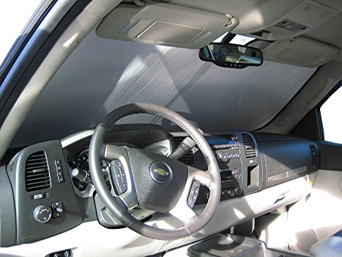 - The Original Windshield Sun Shade, Custom-Fit for Chevrolet Silverado 1500 Truck (Crew Cab) 2007, 2008, 2009, 2010, 2011, 2012, 2013, Silver Series