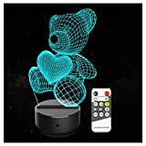 3D Illusion Lamp - Dinosaur 3D Kids Night Light Animals Optical Illusion 3D Lamp 7 Colors Changing Remote Control LED Table Desk Lamp for Girls Boys Bedroom Children Toy Gift (Little Bear)