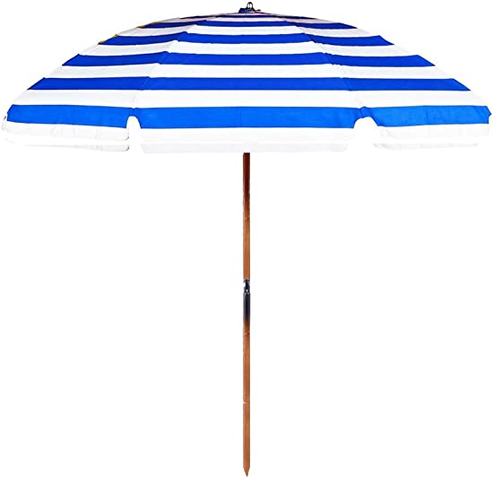 7.5 Commercial Grade Beach Umbrella Color Blue White Stripe