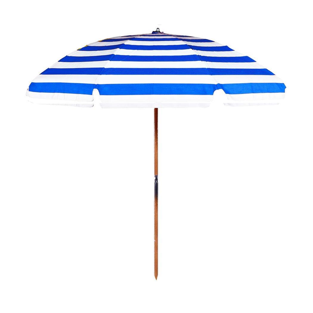 7.5 ft. Fiberglass Rib Commercial Grade Beach Umbrella with Ash Wood Pole (Blue/White Stripe, Add Valance/No Vent/Add Bag)