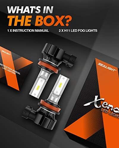 SEALIGHT H11 LED Fog Light Bulbs, 5000 Lumens 12W High Power 6000K Xenon White 300% Brightness, H8 H16 LED Fog Light DRL Bulbs Replacement For Cars,Trucks(Pack of two)