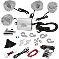 Pyle PLMCA90 1200 Watts Motorcycle/ATV Amplifier with Dual Handle-Bar Mount Weatherproof Speakers, MP3/iPod Input, USB Charger - Set of 4