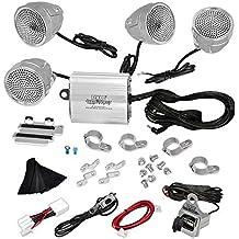 Pyle PLMCA90 1200 Watts Motorcycle/ATV Amplifier with Dual Handle-Bar Mount Weatherproof Speakers, MP3/iPod Input, USB Charger - Set of 4