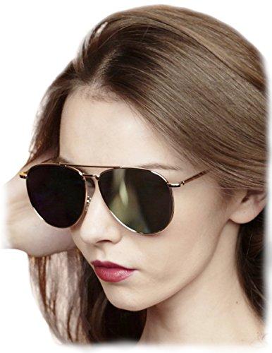 O2 Eyewear 97025 Premium Oversized Aviator Flat Mirrored Sunglass Womens Mens (METAL, - Sunglasses Deals Mall