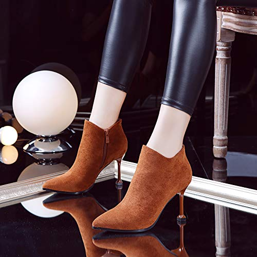 Shukun Stiefeletten Schwarzer hoher Absatz zeigte Martin Stiefel Stilett Wildkatze Ferse Schuhe weibliche Herbst und Winter Kurze Stiefel
