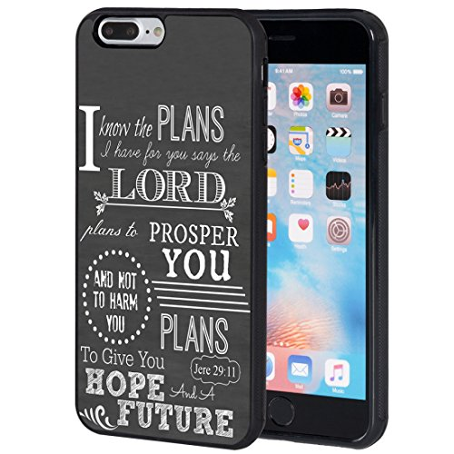 iPhone 7 Plus Case,iPhone 8 Plus Case,AIRWEE Slim Anti-Scratch Shockproof Silicone TPU Back Protective Cover Case for Apple iPhone 8 Plus/iPhone 7 Plus,Bible Verse Christian Quote Jeremiah 29:11