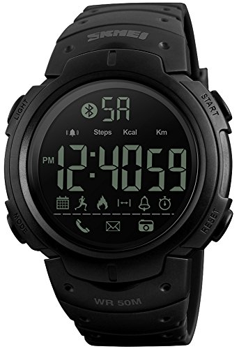 Men's Multifunctional Pedometer Call and App Remind Data Storage Blue-Tooth Calorie Record Waterproof Smart Watches (Black) - Pedometer Storage