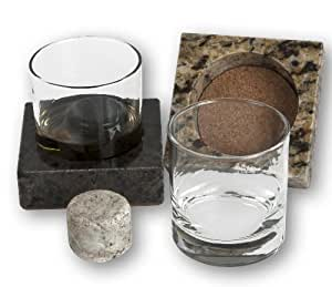 """Cool Coaster 6 Piece Set-  Includes:  Two 4"""" Square Granite Coasters, Two 10oz Glass Tumblers & 2 """"On the Rocks"""" Solid Granite Whisky Stones by Sea Stones"""