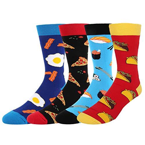 (Men's Funny Novelty Crew Dress Socks Crazy Food Taco Sushi Egg Pizza Cotton Socks 4 Pack Gift Box)