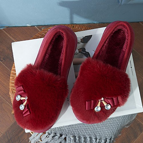 LaxBa Lhiver au chaud, lhiver Chaussons Chaussons moelleux Accueil chaleureux en hiver, chaussures Chaussons antiglisse Maison vin rouge36 (pour 35) port