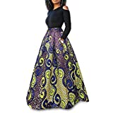 Raylans Women's African Floral Print Two Pieces A Line Long Skirt Maxi Dress Yellow Purple M